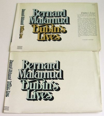MALAMUD, BERNARD, - Proof Dust Jacket for Dubin's Lives.