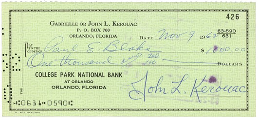 Kerouac Jack Signed Check Ken Lopez Bookseller - Check-filled-out