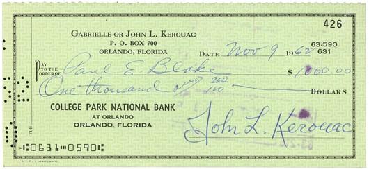KEROUAC, Jack - Signed Check | Ken Lopez Bookseller