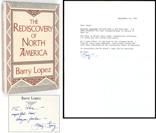 LOPEZ, BARRY, - The Rediscovery of North America [Inscribed to Peter Matthiessen].