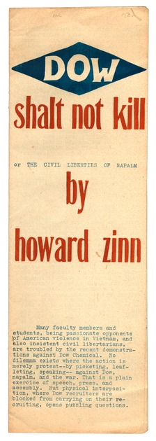 ZINN, HOWARD, - Dow Shalt Not Kill, or the Civil Liberties of Napalm.